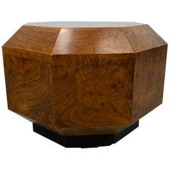 Modernist Beveled Octagon Burl Table / Pedestal, Heritage Henredon