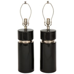 Modernist Black Ceramic Lamps