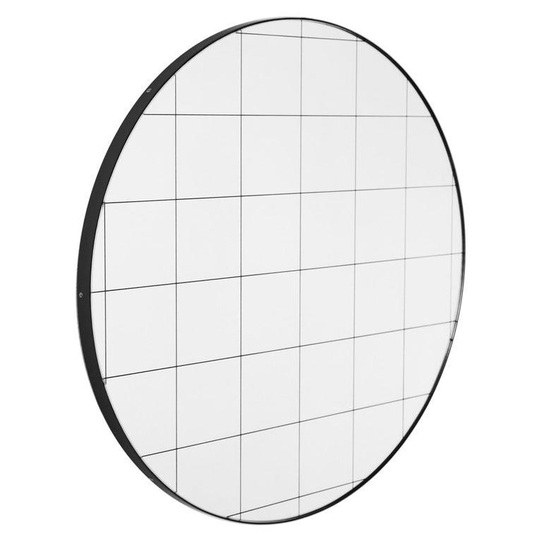 Modernist Black Frame with Black Grid Orbis Round Mirror, Medium, Customizable For Sale