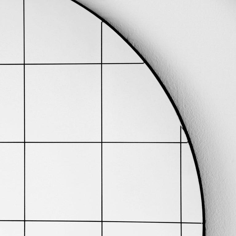 British Modernist Black Frame with Black Grid Orbis Round Mirror, Medium, Customizable For Sale