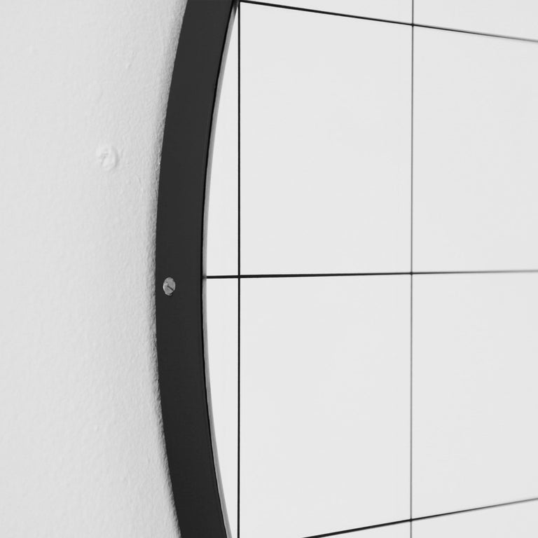 Modernist Black Frame with Black Grid Orbis Round Mirror, Medium, Customizable In New Condition For Sale In London, GB