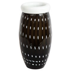 Modernist Black Hand Blown Murano Vase with White Murines