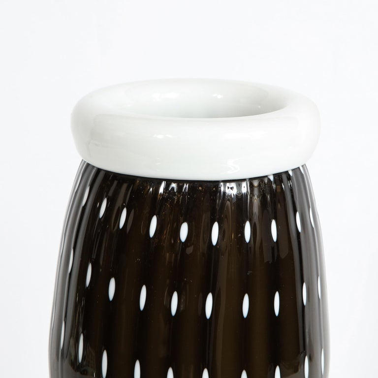 Italian Modernist Black Hand Blown Murano Vase with White Murines For Sale