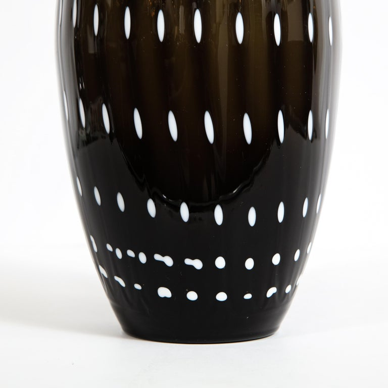 Late 20th Century Modernist Black Hand Blown Murano Vase with White Murines For Sale