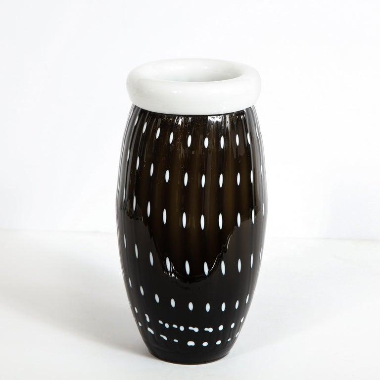 Murano Glass Modernist Black Hand Blown Murano Vase with White Murines For Sale