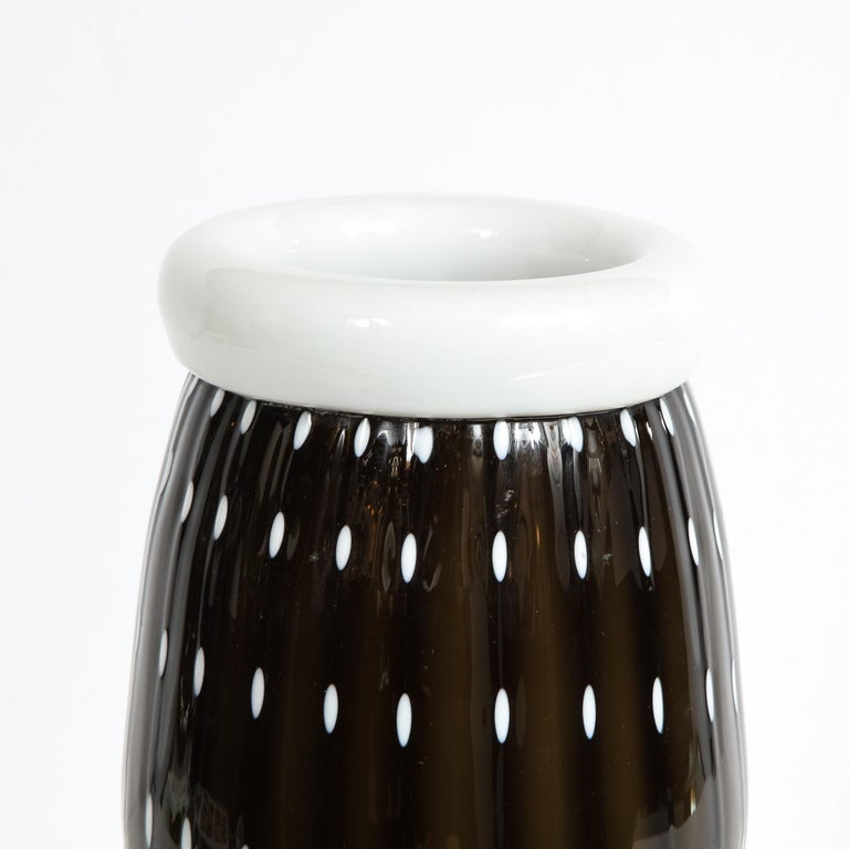 Modernist Black Hand Blown Murano Vase with White Murines For Sale 1