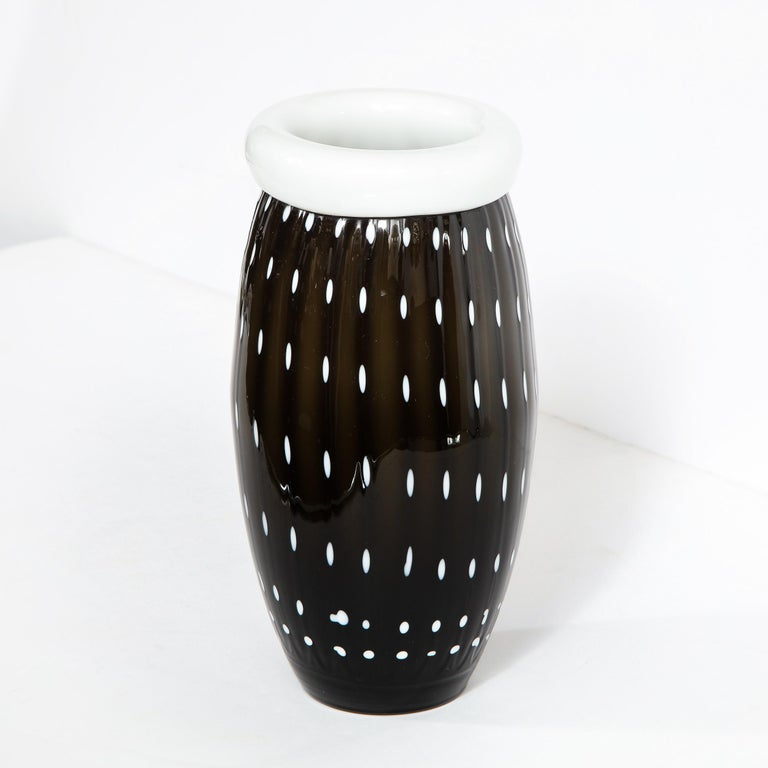Modernist Black Hand Blown Murano Vase with White Murines For Sale 3