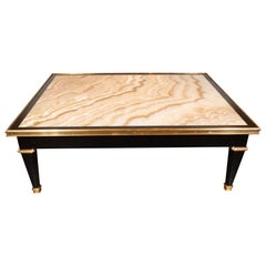 Modernist Black Lacquer and Bronze Cocktail Table with Onyx Top & Bronze Mounts