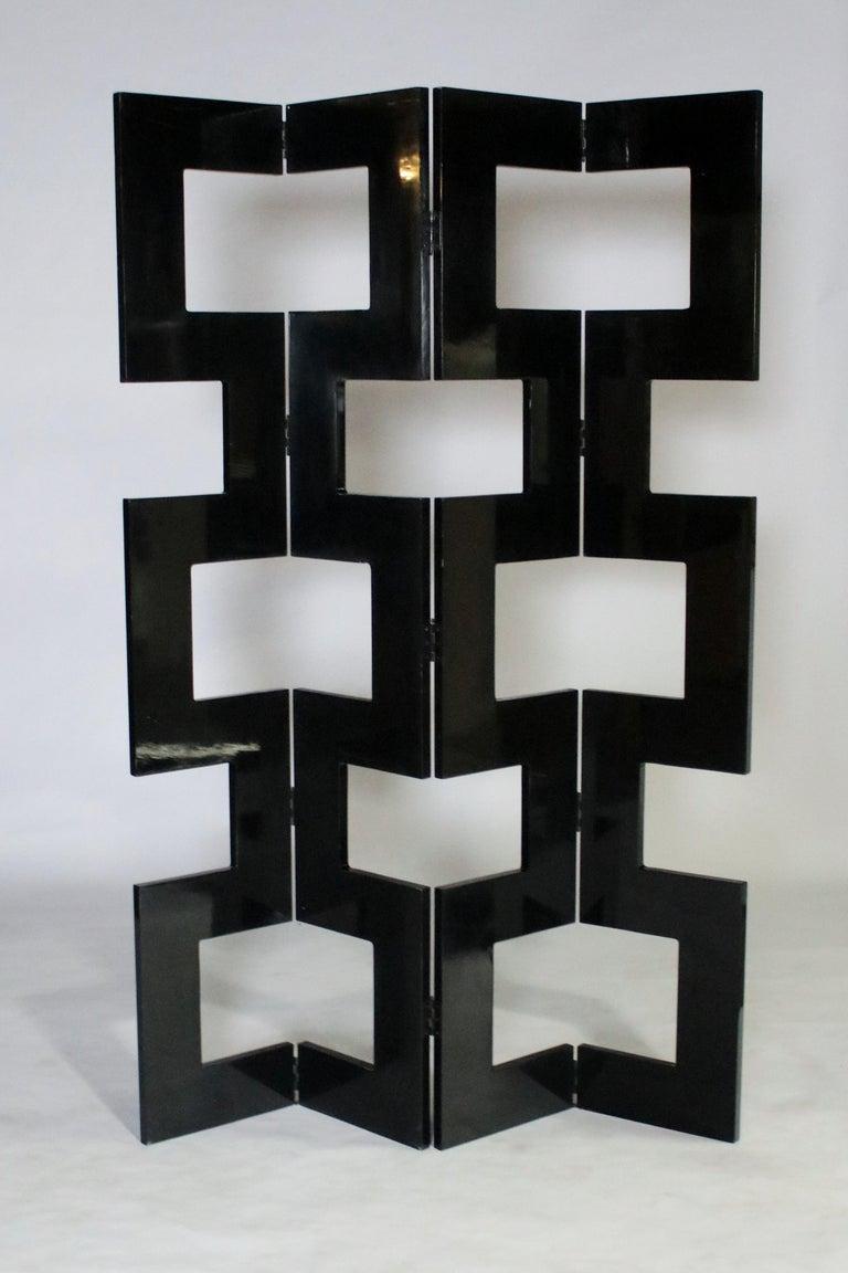 Mid-Century Modern Modernist Black Lacquered Wood Room Divider For Sale