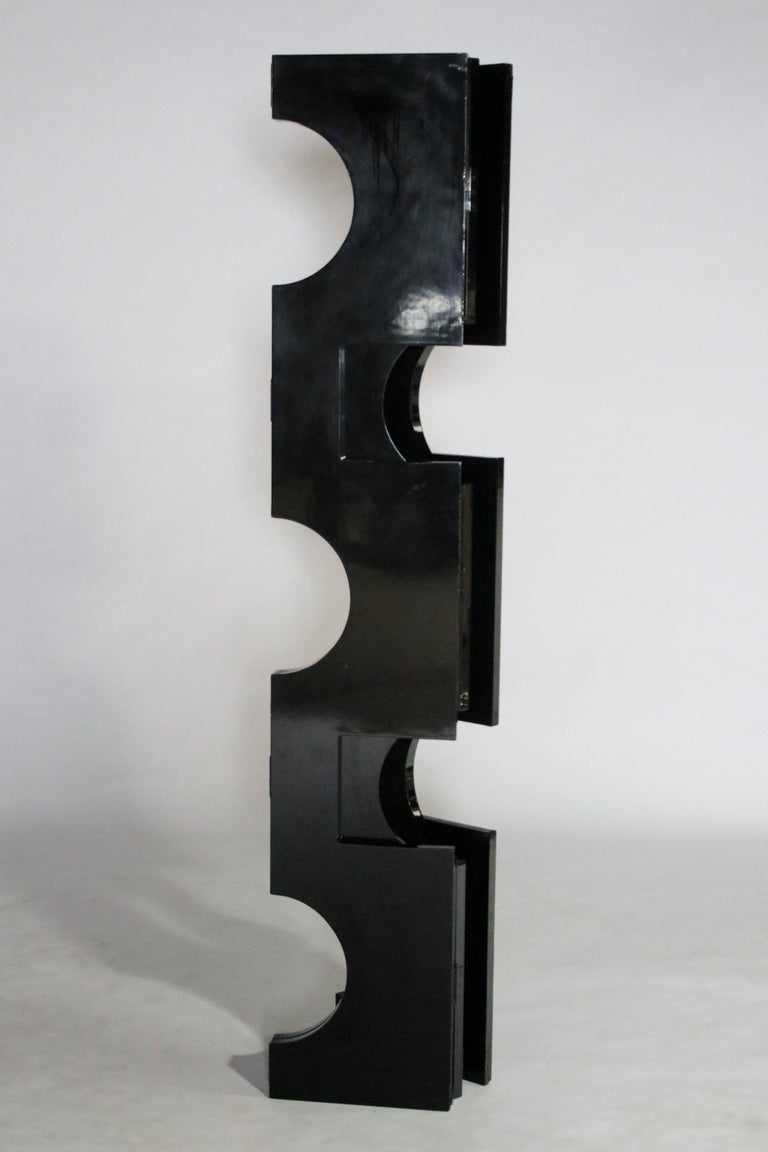 Late 20th Century Modernist Black Lacquered Wood Room Divider For Sale