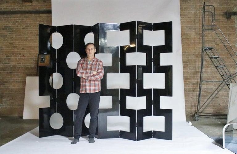 Modernist Black Lacquered Wood Room Divider For Sale 1