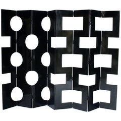 Modernist Black Lacquered Wood Room Divider
