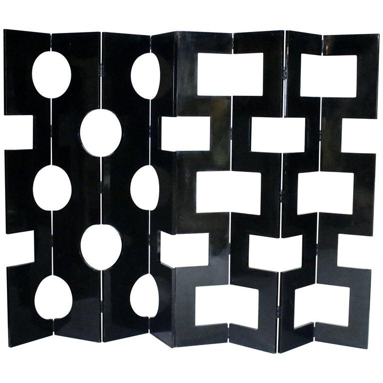 Modernist Black Lacquered Wood Room Divider For Sale