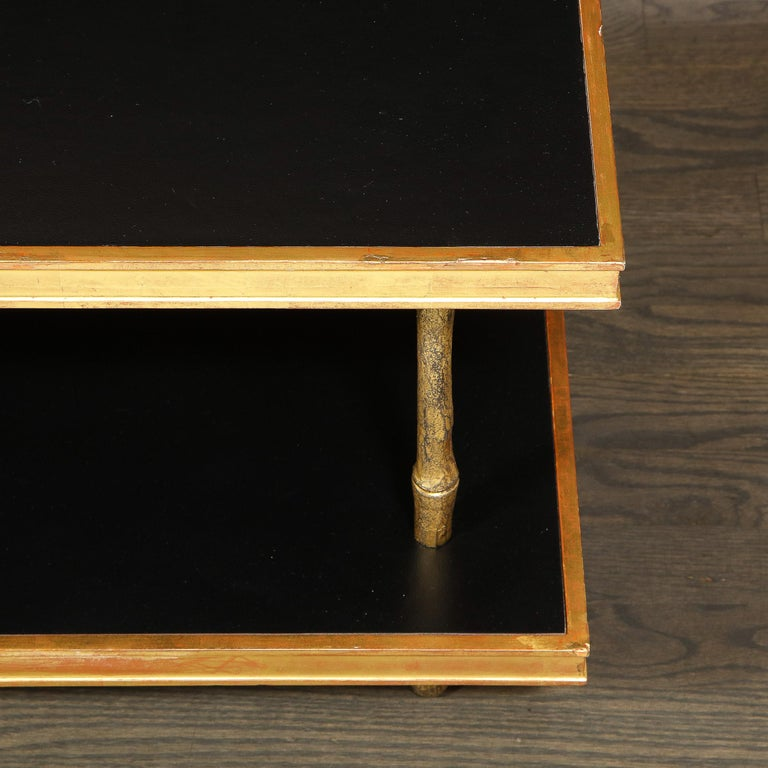 American Modernist Black Leather and Giltwood Two-Tier Cocktail Table by Carole Gratale For Sale