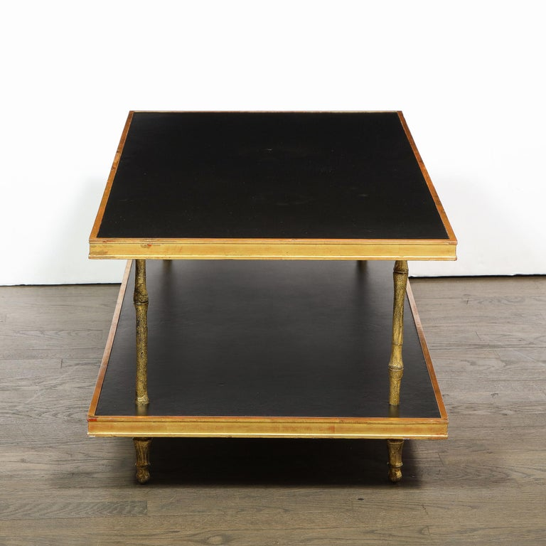 20th Century Modernist Black Leather and Giltwood Two-Tier Cocktail Table by Carole Gratale For Sale