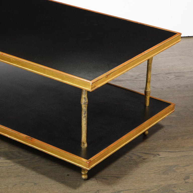 Modernist Black Leather and Giltwood Two-Tier Cocktail Table by Carole Gratale For Sale 1