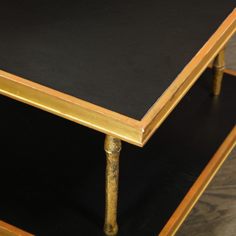 Modernist Black Leather and Giltwood Two-Tier Cocktail Table by Carole Gratale For Sale 2