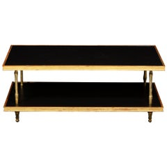 Modernist Black Leather and Giltwood Two-Tier Cocktail Table by Carole Gratale