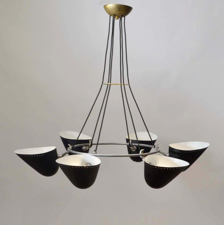 Mid-Century Modern Modernist Black Metal Uplight Chandelier, A.B. Read for Troughton & Young, 1940s For Sale