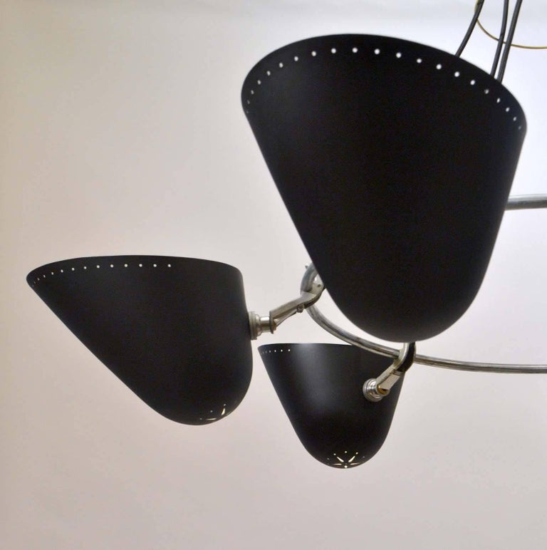 Painted Modernist Black Metal Uplight Chandelier, A.B. Read for Troughton & Young, 1940s For Sale