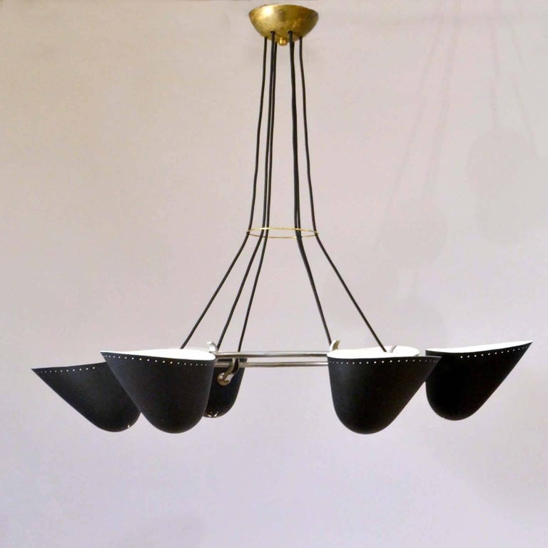 Modernist Black Metal Uplight Chandelier, A.B. Read for Troughton & Young, 1940s For Sale 1