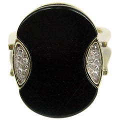 Modernist Black Onyx Diamond Ring 14 Karat