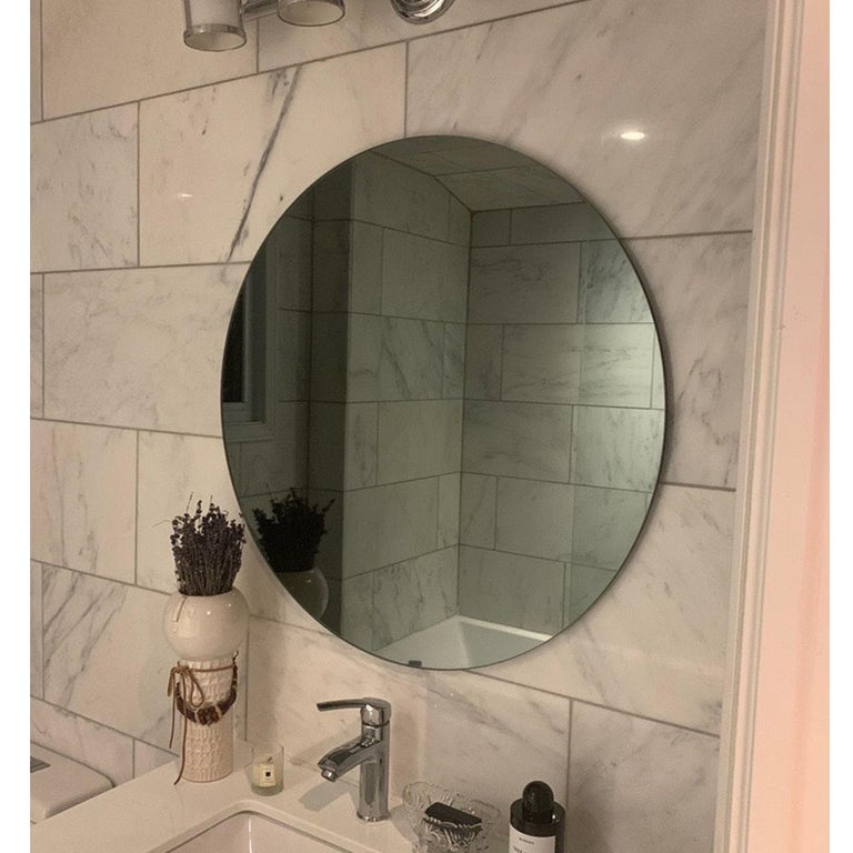 Modernist Black Tinted Orbis™ Round Mirror Frameless, Medium, Customizable For Sale 2