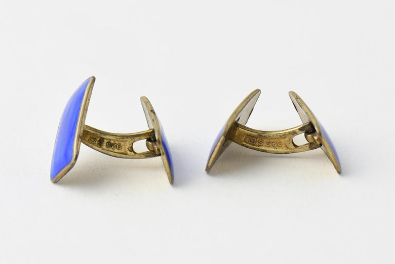 Modernist Blue Enamel Sterling Silver Cuff Links by Norne Aksel Holmsen In Good Condition For Sale In Miami Beach, FL