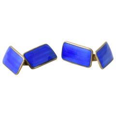 Modernist Blue Enamel Sterling Silver Cuff Links by Norne Aksel Holmsen