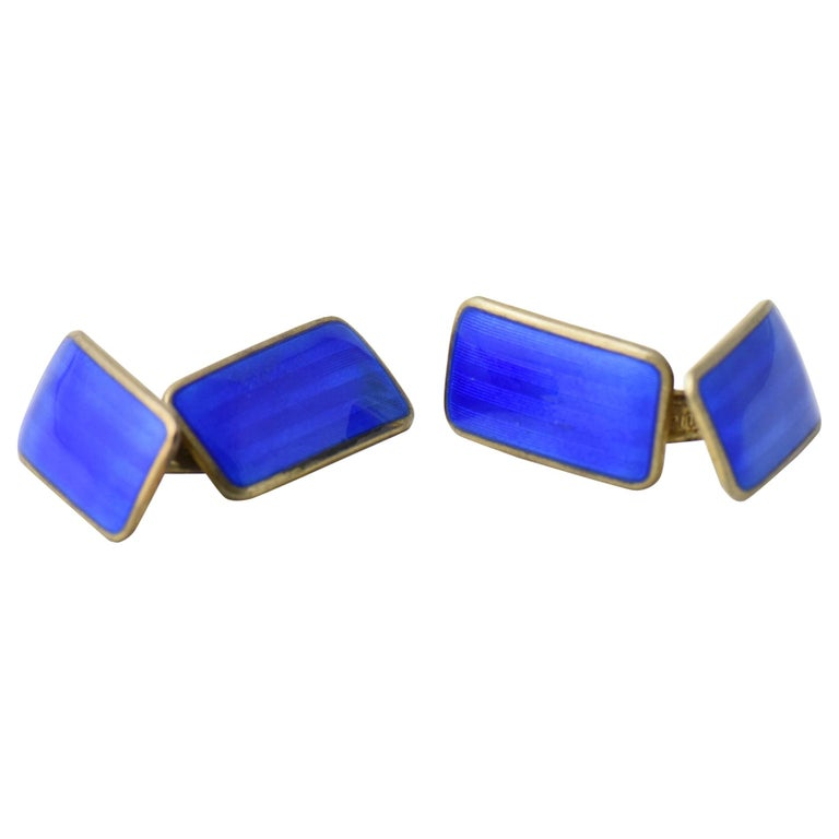 Modernist Blue Enamel Sterling Silver Cuff Links by Norne Aksel Holmsen For Sale
