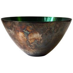 Modernist Bowl in Silver Plate and Green Enamel by DGS, Denmark, 1950s