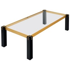 Modernist Brass and Black Coffee Table