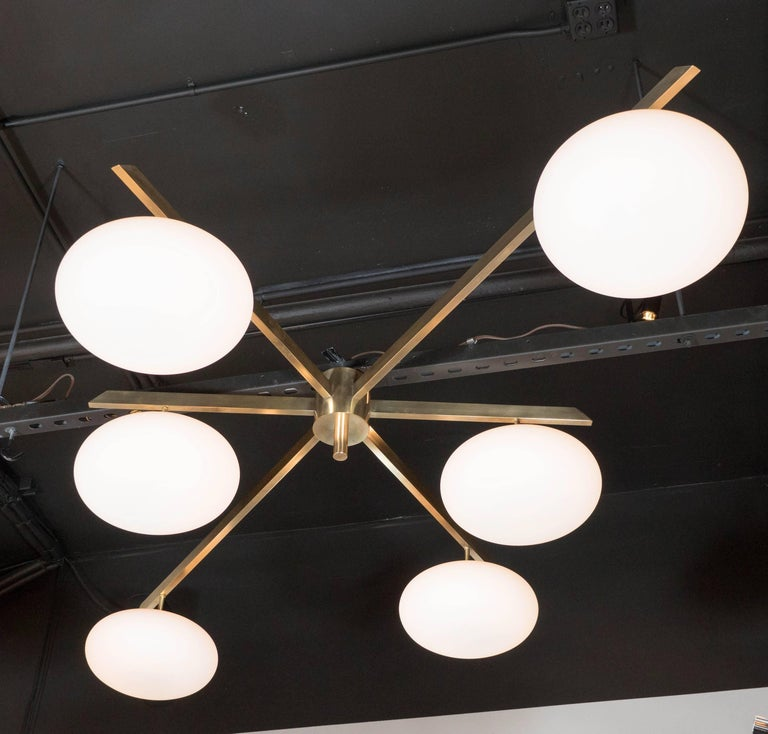 Mid-Century Modern Modernist Brass and Frosted Glass Six-Arm Globe Chandelier, Manner of Arredoluce For Sale