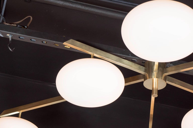 Modernist Brass and Frosted Glass Six-Arm Globe Chandelier, Manner of Arredoluce For Sale 1