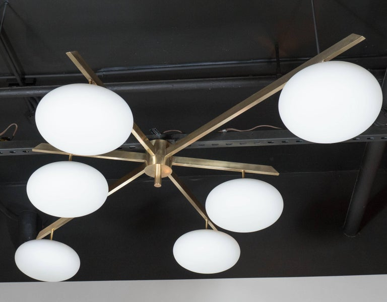 Modernist Brass and Frosted Glass Six-Arm Globe Chandelier, Manner of Arredoluce For Sale 3
