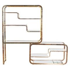 Modernist Brass and Glass Adjustable Etagere Stand Milo Baughman
