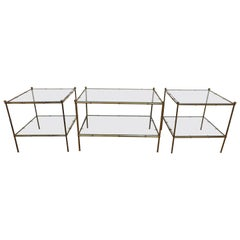 Modernist Brass and Glass Cocktail Table Set