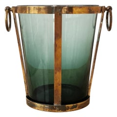 Modernist Brass and Glass Ice Bucket, Italy, 1960s