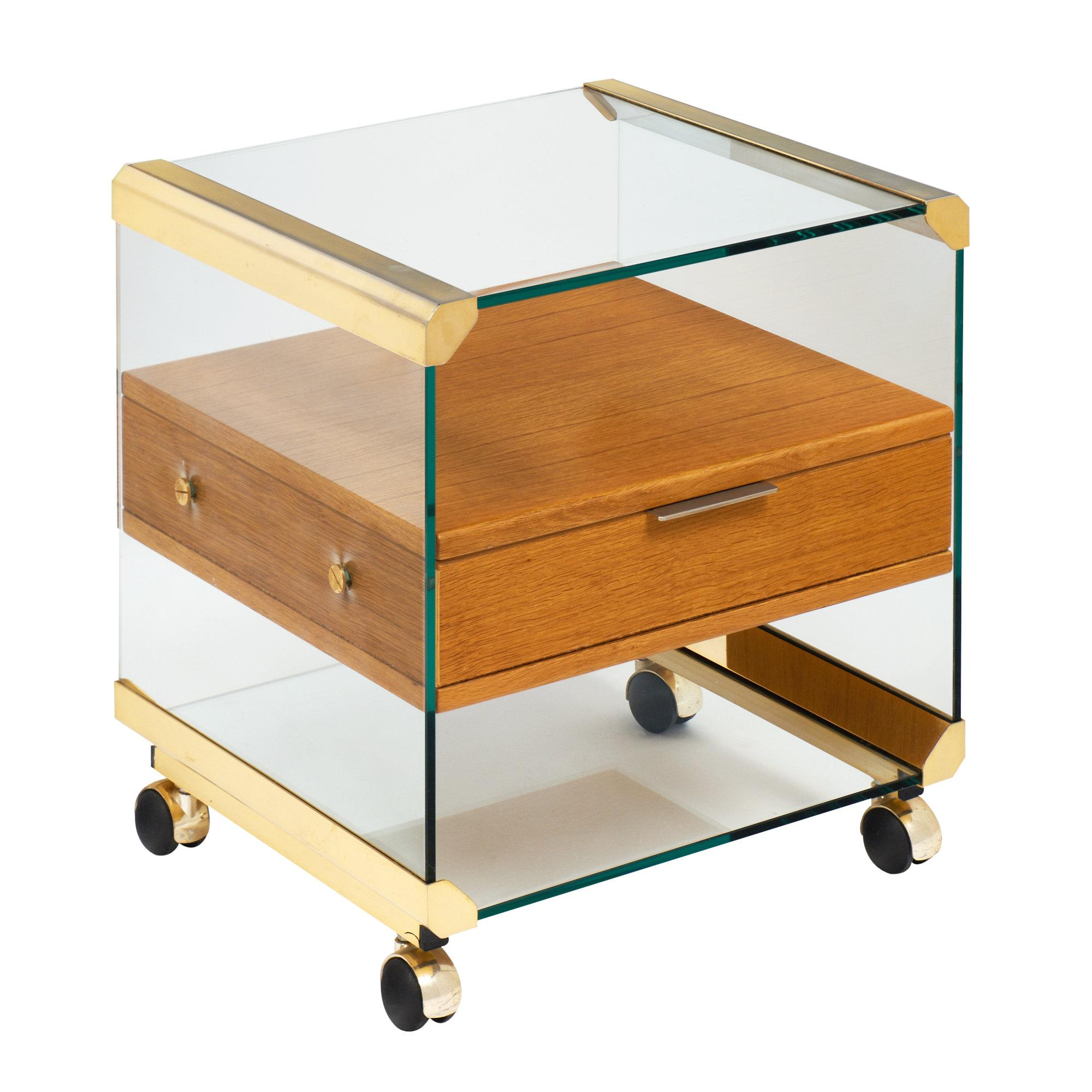 Modernist Brass And Glass Side Table