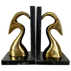 Modernist Brass and Marble Gazelle Bookends