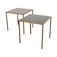 Modernist Brass and Black Glass End Tables