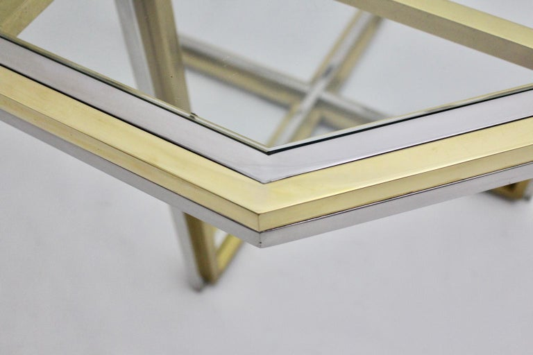Romeo Rega Style Italian Glass and Brass Chromed Vintage Dining Table, 1970s For Sale 4