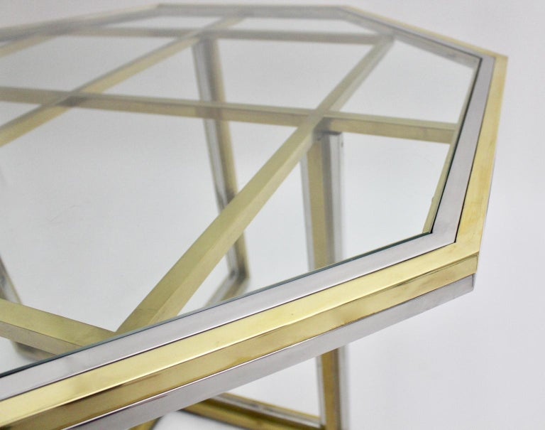 Romeo Rega Style Italian Glass and Brass Chromed Vintage Dining Table, 1970s For Sale 5