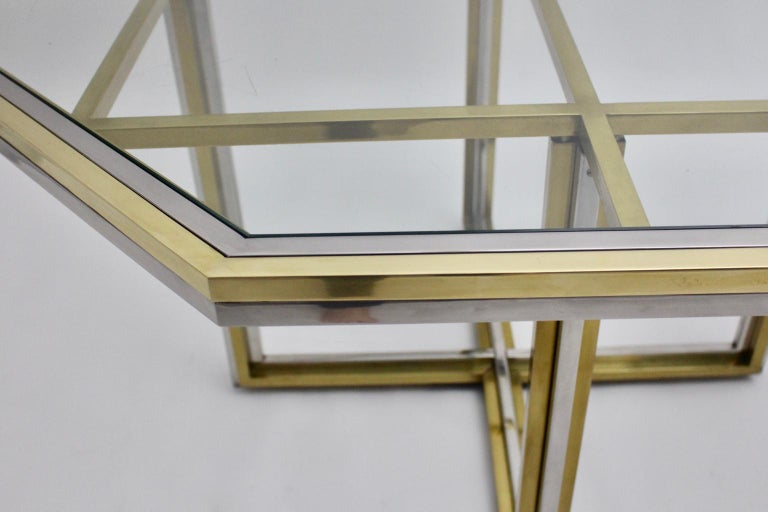 Romeo Rega Style Italian Glass and Brass Chromed Vintage Dining Table, 1970s For Sale 6