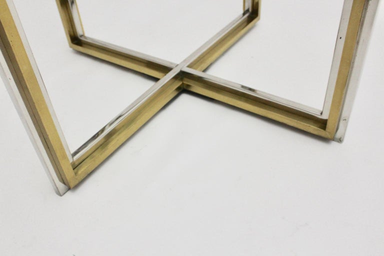 Romeo Rega Style Italian Glass and Brass Chromed Vintage Dining Table, 1970s For Sale 7