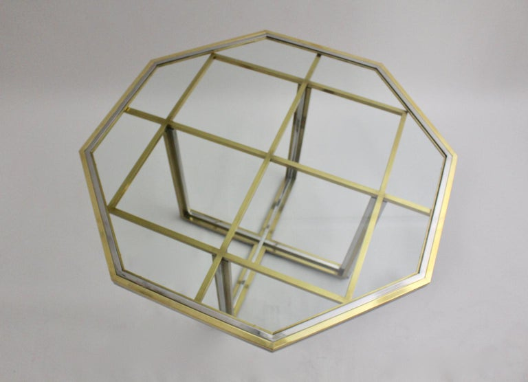 Mid-Century Modern Romeo Rega Style Italian Glass and Brass Chromed Vintage Dining Table, 1970s For Sale