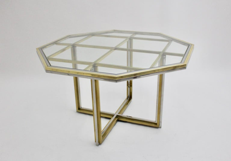 Romeo Rega Style Italian Glass and Brass Chromed Vintage Dining Table, 1970s In Good Condition For Sale In Vienna, AT