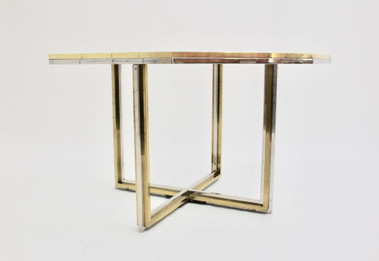 Late 20th Century Romeo Rega Style Italian Glass and Brass Chromed Vintage Dining Table, 1970s For Sale