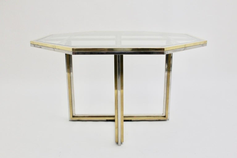 Metal Romeo Rega Style Italian Glass and Brass Chromed Vintage Dining Table, 1970s For Sale