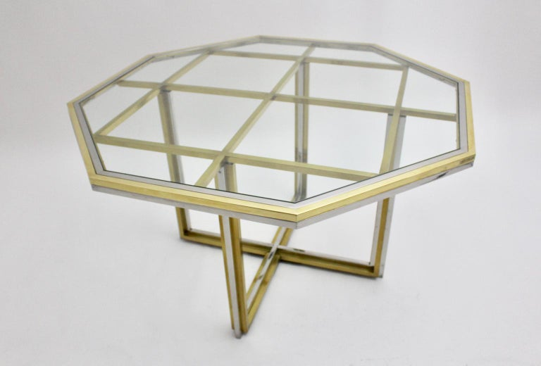Romeo Rega Style Italian Glass and Brass Chromed Vintage Dining Table, 1970s For Sale 1